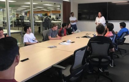 Our Workplace Readiness Program students at the BNY Mellon Innovation center in Palo Alto. Joyce Peacock, the Innovation Center's Engagement Director, provides an overview of the work of the lab.